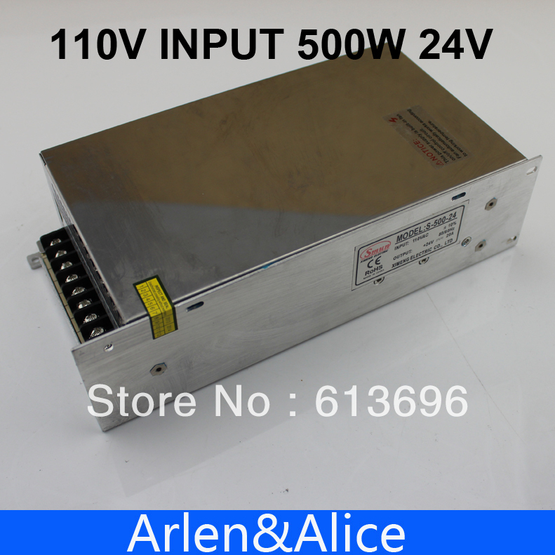 500W 24V 20A Single Output Switching power supply for LED Strip light AC to DC 110V INPUT<br>
