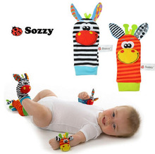 2pcs/set Sozzy Baby toy plush doll Infant Wrist Strap Socks Rattle with Ring Bell Garden Bug Foot Soft gifts Brinquedos chidren(China)