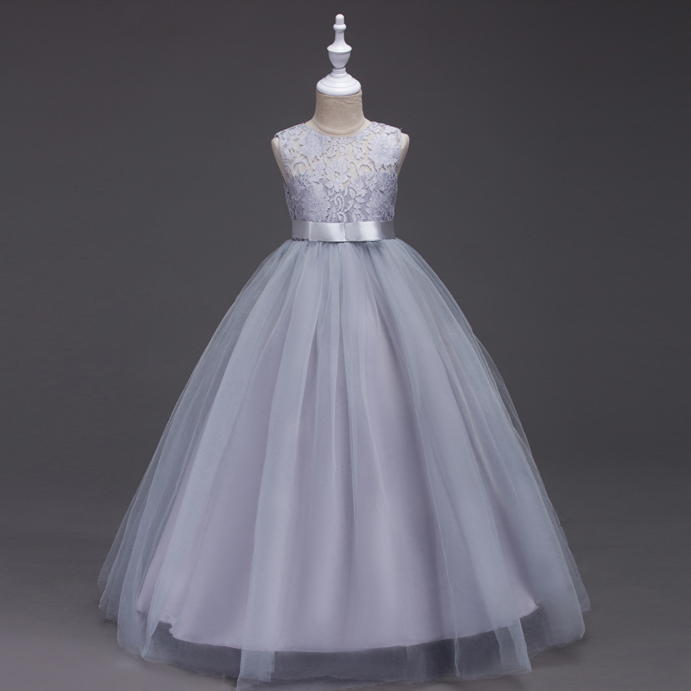 New Girl Kids White Lace Baldachin Formal Princess Party Dress Size 2 to 13