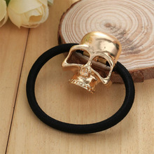 Women Metal Gold Candy Color Skull Elestic Black Head Band Girl Hair Ring Rope Tie Ponytail Holder Hair Accessory On Sale
