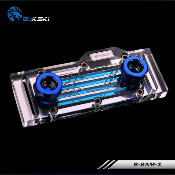Bykski RAM Water Cooling Block use for Dual Channel 2pcs RAM or 4 Channel 4pcs RAM Cooled Transparent Radiator with Metal Cover<br>