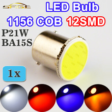 COB P21W LED 12SMD 1156 BA15S 12V Bulbs White / Red / Blue / Yellow Truck RV Vehicle Interior Light Parking Auto Car Lamp 1pcs