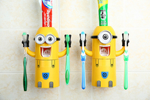 2 pcs/lot 2016 New Listing Minions Toothbrush Holder Automatic Toothpaste Minion Dispenser With Brush Cup Bathroom Set