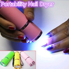 9 LED Aluminum Alloy Mini UV Gel Curing Lamp Portability Nail Dryer LED Flashlight Currency DetectorAAA Battery Delivery Fast