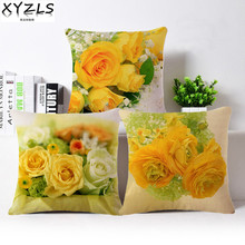 XYZLS Brand New Fresh Natural Yellow Flowers Cushion Covers Breathable Cotton Linen Pillow Case for Sofa Cafe Car as Gift(China)