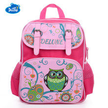 Delune School Bags Cartoon Burden Reducing School Backpacks Animal Bird Prints Nylon Pink Blue Backpacks For Girls Boys Student(China)