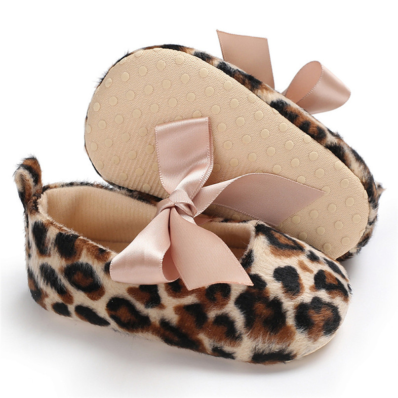 Toddler Cute Girl Leopard Print Tie Soft Newborn Anti-slip Baby Shoes First Walker A84L073 (3)