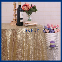 SQ025B many colors available beaded round glitter light gold sequin sequin table cloth(China)