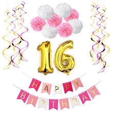 Sweet Girl 16th Birthday Party Decoration Kit,Happy Birthday Banner,10pcs Foil Whirls,8pcs Paper Pom Poms,16 Foil Balloons
