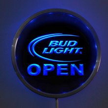 rs-0025 Bud Light OPEN LED Neon Round Signs 25cm/ 10 Inch - Bar Sign with RGB Multi-Color Remote Wireless Control Function(China)