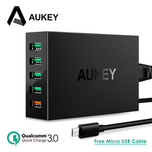 Quick Charge QC 3.0 AUKEY 5-Port USB Charger Station with Micro-USB Cable for iPhone iPad Samsung Galaxy Xiaomi mi5 Meizu & More(China)
