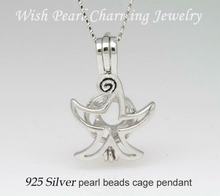 925 Silver Fashion Starfish Shape Pearl Locket Cage, Sterling Silver Pendant Mounting for Necklace Jewelry Accessory Lucky Charm