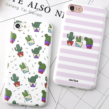 Korea Fashion Stripe Cactus Phone Case for Apple Iphone 6 6s 6plus 6splus 7 7 Plus Soft TPU Back Cover Coque YC2048