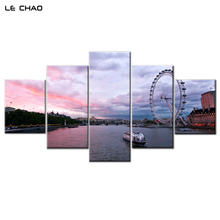 LE CHAO Canvas Painting River Amusement Park Rectangle Wall Pictures For Living Room Wall Art Posters And Prints Home Decor(China)