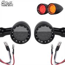YOUNG.MOTO Pair 10mm Vintage Motorcycle Turn Signal Indicator Motocross Black Chrome Bullet LED Light Yellow/Red Lamp For Harley
