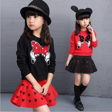 2017 New Fashion Girls Clothing Set Minnie T shirt + Skirt  dot bow point suit long-sleeved autumn kids free shipping