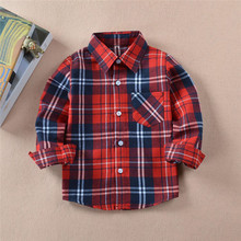 2018 Autumn Baby Boys Girls Long Sleeve Shirt Plaids Red Black Checks Tops Blouse Cotton Clothes Outfit 2-8Y Kids Children Shirt(China)