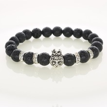 New Fashion Lava Stone Crown Lion Bracelets Real Natural Stones For Men Bracelets Women Jewelry Accessories NB30