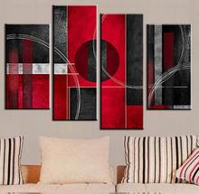4 Pcs/Set Combined Abstract Oil Painting Red Black With Circle Canvas Home Room Decor Wall Art HD Picture Modern Poster