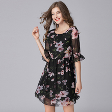 Buy Black Butterfly Half Sleeve Chiffon Dress Women Summer Female Flower Print Causal Mini Dresses 5XL Plus Size Women Clothing for $25.40 in AliExpress store