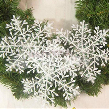 15Pcs (5 bags) White Christmas Snowflake For Tree Hanging Window Christmas Ornament Decorations For Home