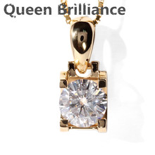 Queen Brilliance Real 18K 750 Yellow Gold AMAZING 1 Carat ct F Color Lab Grown Moissanite Diamond Pendant &Necklace For Women