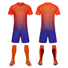 Men's New 2017 Orange And Blue Color Breathable Soccer Jerseys Sets Clubs Party Football Team Soccer Uniforms Shirts Suit Custom