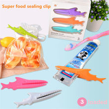 Useful 3pcs Multi-functional Plastic Shark Sealing Bag Clip Toothpaste Squeezers Hot Sale Household(China)