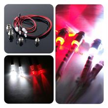 1 Set 2x5mm White & 2x3mm Red LED Light System 4P for RC 1/10 Drift Touring Monster Night headlamps headlights