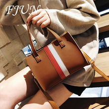 FJUN 2018 New Fashion Panelled Famous Designer Handbag Women Faux PU Leather Burgundy Tote Shoulder Bags Women Bag Female Bolsas(China)