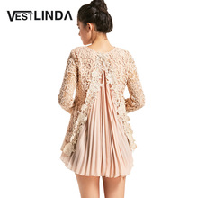 VESTLINDA New Elegant Long Blouses Fall 2017 Fashion Long Sleeve Pleated High Low Lace Blouse Women Blusas Femme Female Clothing(China)