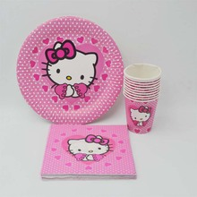 40PC Lovely Hello kitty Plate/Cup/Napkin Party Supplies Favor Baby Kids Girls Birthday Party Decoration Hello kitty Party08