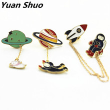 Fashion new style three style astronauts/earth/rabbit girl enamel animal planet brooches women badges clothes pins wholesale(China)