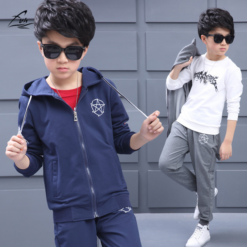 FYH Kids Clothing Teenagers Spring Autumn Clothing Set School boys Sports Suit 3pcs Casual Suit Boys Hooded Coat+Pants+T-shirt<br>