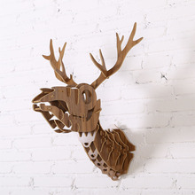 Wood Deer Skeleton Wall Hanging Animal Head Animal Wooden Sculpture Art Gift WDM019M(China)