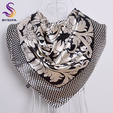 Ladies Square Scarves Printed New Fashion Unisex Apparel Accessories Women Black White Dot Silk Scarf 90*90cm Scarves Wraps(China)