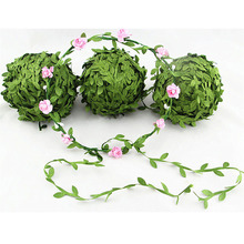 5 Meter Silk Leaf-Shaped Handmake Artificial green Leaves For Wedding Decoration DIY Wreath Gift Scrapbooking Craft Fake Flower(China)