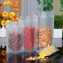 Retail 100Pcs/Lot Stand Up Matte Clear Plastic Food Nuts Snack Powder Storage Bag Doypack Zip lock Valve Packaging Pouches Bag