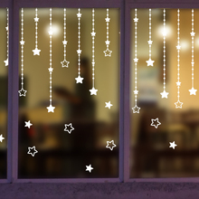white stars design windows stickers frozen snow winter wall art stickers home decor shop decoration maison Christmas decals
