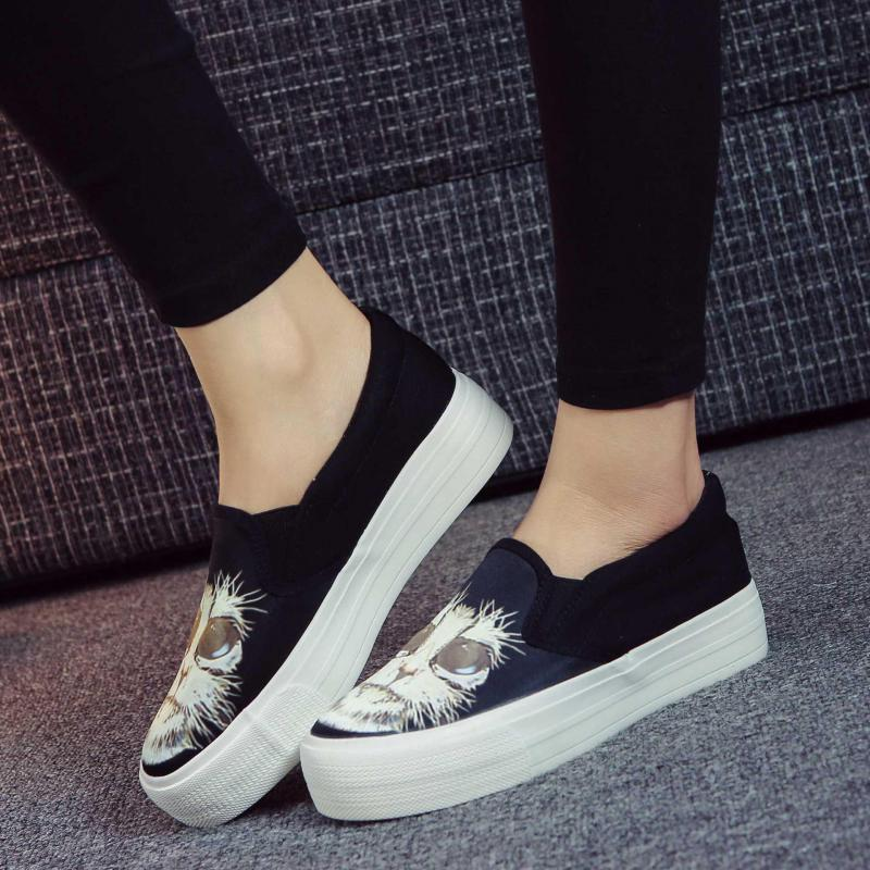 2017 Spring Autumn Canvas Flat Shoes Womens Platform Slip On Shoes Woman Cat Print Loafers Ladies Flats Black Height Increasing<br><br>Aliexpress