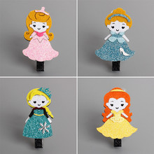 Glitter Princess Character Hair Clip Felt Party Queen Birthday Barrette Sweet Sparkely Kid Hair Accessory Fairy Tale Hair Pinch(China)