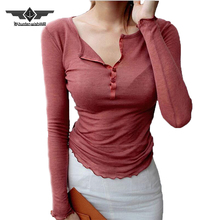 Single-Breasted Sexy Long Sleeve Shirt Women Semi Open Collar Thin Knit Shirts Solid Fashion Slim Women Blouses Summer Top Tees(China)