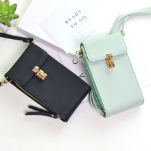 2019 New Fashion PU Leather Phone Women Wallet Shoulder Bag Coin Card Holder Purse Solid Color High capacity Lock student Wallet