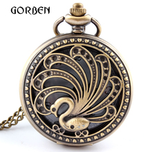 Vintage Retro Hollow Peacock Pocket Watch Necklace Pendant Chain antique steampunk pocket watches Men gifts relogio de bolso