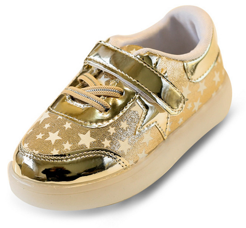 Children Shoes With Light Up 17 Star Printed Unisex Led Light Kids Baby Girls Boys luminate Sneakers Size 21-30 8