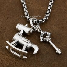 925 Sterling Silver Red CZ Dog Rocking Chair & Key Mens Biker Pendant 8P025(Necklace 24inch)