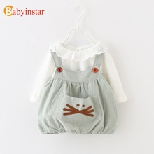 Babyinstar Big Pocket Cartoon Pattern Dress + White t-shirt with Lace Collar 2pcs Children's Set for Girls Spring Clothing Sets