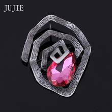 JUJIE Unique Design Geometric Irregular Crystal Brooches For Women2017 Exquisite Multicolor Big Brooch Scarves Buckle