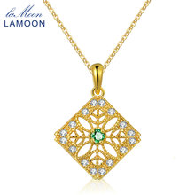 LAMOON Emerald Pendant Necklace For Women Green Gems 925 Sterling Silver Jewelry Trendy 14K Yellow Gold Plated Chain S925 NI056