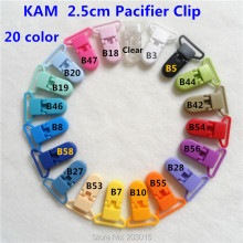 "(20 color)   5pcs 1"" 25mm D shape Kam Plastic Baby Pacifier Soother MAM Dummy Adapter Holder Chain Clips Suspender Clips"